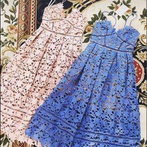 Self-portrait midi dress lace foggy blue US2